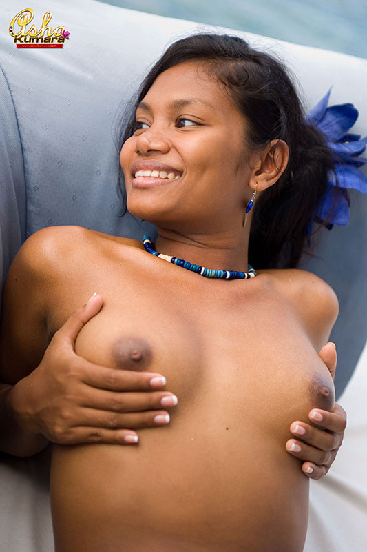 Brown Indian Teen Asha Kumara Naked In A Tiny Blue Bikini From
